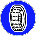 segnale di obbligo catene a bordo