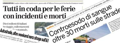 collage di notizie su incidenti stradali