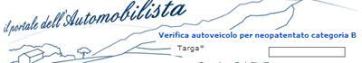 servizio neopatentati sul portale dell'automobilista